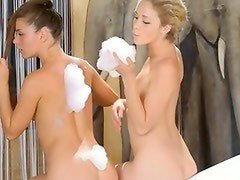 Teen babes playing in the jacuzzi tube