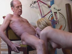 Horny Teen Rides An Old Man's Big Hard Cock