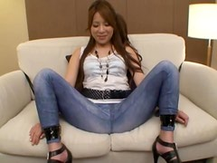 Cutting a Strategic Opening In This Japanese's Jeans To Play with Her Pussy