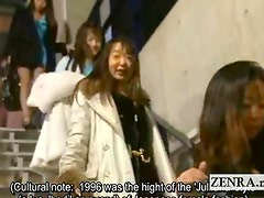 Subtitled bizarre Japanese all nude audition striptease