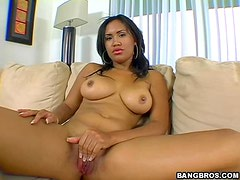 Beautiful big tits ebony Ryaan fucked in every way