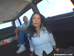 Huge tits whore Nina big cock blowjob in a car