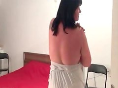 Fat brunette mature woman having fun