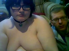 fat nerdy BBW with huge tits showing off on webcam