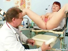 Older olga has her ginger bushy bawdy cleft gyno speculum examined by gyno Doctor