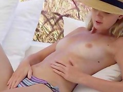 Blonde glamour toying pussy in art movie