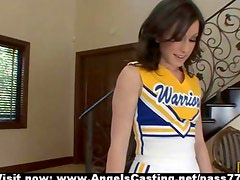Brunette cheerleader flashing panties and doing blowjob for coach