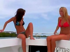 Two sexy babes in bikini banged on turns in a yacht