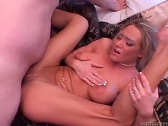 Sensual blonde babe spreading her luscious pussy lips for some cock