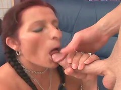 Mature minx with pigtails bouncing on big shaft