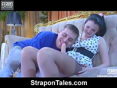 Betty Toys With a Strapon in Her Man's Butt