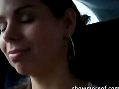 Hot amateur girl rides a car then a cock and gets payed