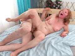 Horny mature slut gets her shaved pussy rammed raw