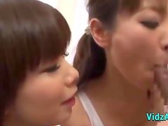 2 Asian Girls In Aerobic Dress Sucking Guy Cock Giving Handjob Cum To Hand In The Gy