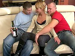 Skinny Euro girl takes two cocks and a bottle!