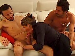 Mature photographer gets sandwiched. Anal, Facial
