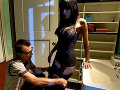 Submissive husband watching his wife getting fucked
