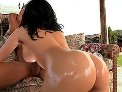 2 big oiled shiny asses and 1 cock