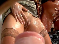 Massive Cumshot From Gloryhole Cock For Two Wet and Messy MILFs