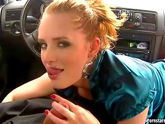 Street Hooker Giving a POV Blowjob In The Car