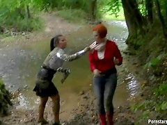 Softcore Catfight In The Mud With Two Wet and Messy Babes