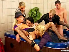 Slutty Babes Have A Wild Orgy Inside The Jacuzzi