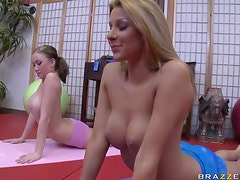 Yoga-Practicing Teens with Big Naturla Tits Get Fucked In a Threesome