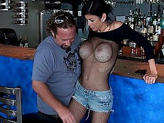 Big titted barmaid gets fucked in clothes