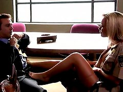 Kayden Kross moans ass she gets nailed on a desk
