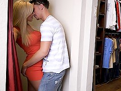 Blonde bombshell gets it in dressing room