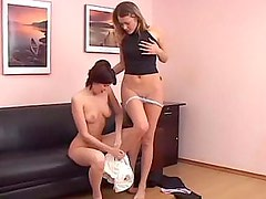 Two lesbian teens anal toying each other