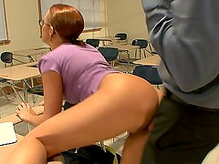 Sara Faye passing the class with her teen pussy