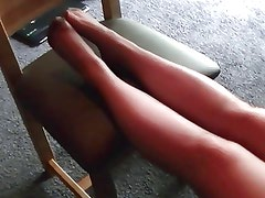 Black pantyhose tights foot play