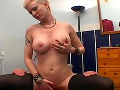 Busty punk babe rides his face