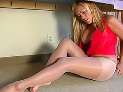 Busty babe lingerie and pantyhose tease