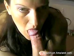 Cock sucking brunette gets cum all over her