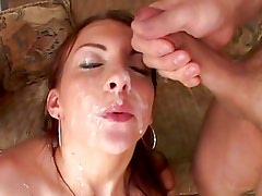 Jordan Oneil gets her face drenched with warm jizz