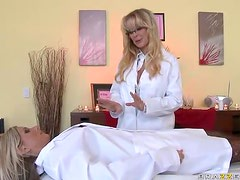 Awesome Lesbian Action With Hot Blonde MILFs In The Spa