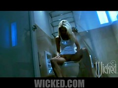 Hot Blonde Jessica Drake Masturbating Her Shaved Pusys In The Bathroom