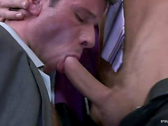 Blonde Boss Daria Glower Fucks Two Bisexual Guys In The Office