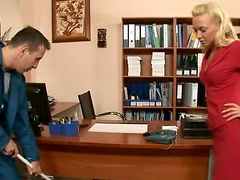 Blonde Babe Gets Her Shaved Pussy Fucked In An Office