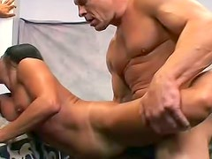 Fitness milf threesome in the gym