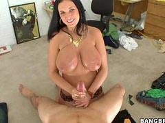 Hugely Breasted Brunette Bella Blazes Through a Cock