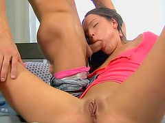 Teenage pussy loves creampie from behind