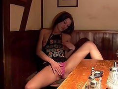 Alone in the restaurant masturbating solo