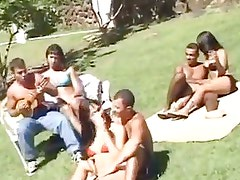 Crazy outdoor group sex with trannies
