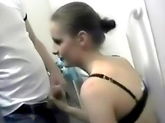 Girlfriend blowjob in dressing room