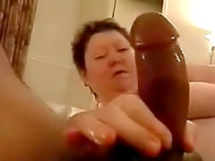 He films fat chick sucking his cock