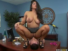Sexy Brunette Calms Her Boss With Hardcore Sex