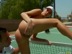 Awesome Hardcore Sex On Tennis Court with Brunette Kortney Kane